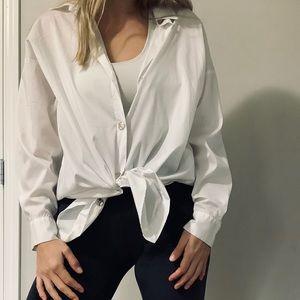 Zara long buttoned down shirt in white
